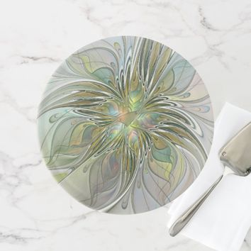 Floral Fantasy Modern Fractal Art Flower With Gold Cake Stand