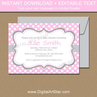 Pink Baby Shower Invitations, Pink and Gray Baby Shower Invites, Pink Gray Birthday Invitations Downloadable Invitations Party Printables B1