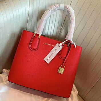 MK MICHAEL KORS High Quality Fashionable Women Shopping Leather Handbag Tote Shoulder Bag Crossbody Satchel Red
