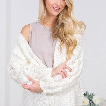 Chunky Knit Wool Cardigan | Cream
