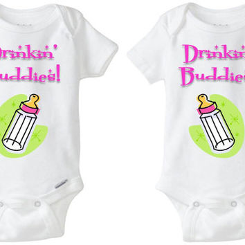 "Baby Gift for Twins: Gerber Onesuit brand body suits - ""Drinkin' Buddies"" with pic of a bottle (set of 2) for identical or fraternal Twins!"