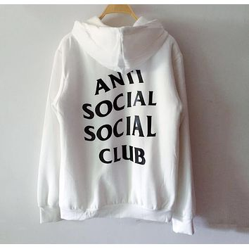 "Hot Sale ""Anti Social Social Club"" Fashion Cotton Hoodies White I12348-1"