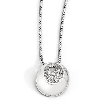 Diamond Crescent Circle Necklace in Rhodium Plated Silver, 18-20 Inch