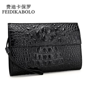 Alligator Leather Men Wallets Black Wallet Clutch Bags High Quality Design Wallets Handy Bags male Purse Monederos