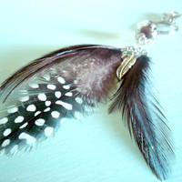 Earth Brown & Grey Boho Feather Keychain with Acrylic Bead, Natural Feathers and Antique Silver Plated Feather Charm from New World