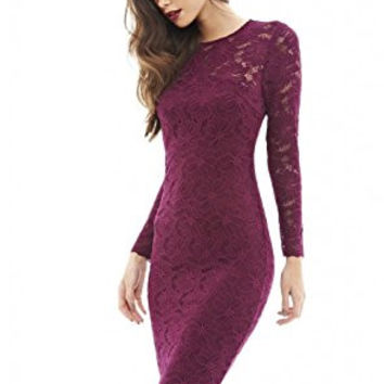 Plum Round Neck 3/4 Sleeve Lace Bodycon Midi Dress