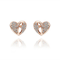 Dazzly Heart Rose Gold Stud Earrings