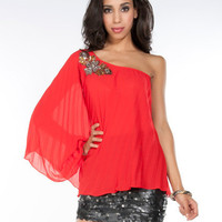 Red Pleated Embellished One Shoulder Top  Sexy Tops