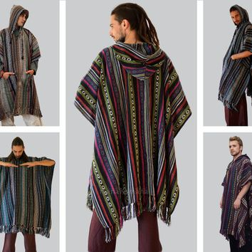Mens poncho hooded , Long Cotton Hippie poncho , Festival , Shawl