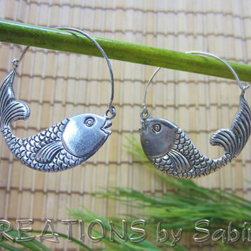 Koi Fish Hoop Earrings, 925 Sterling Silver, Goldfish, silver hoops, fish hoops, unique Vintage FREE SHIPPING 105