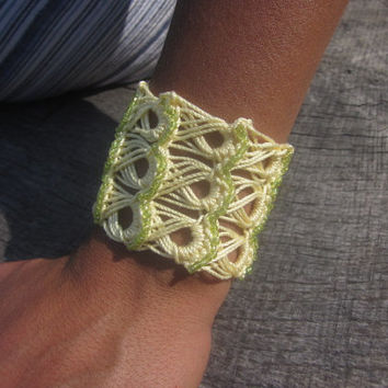 Broom Stick Crochet Cuff Bracelet With Hand-Sewn Glass Beads-Yellow/Lime Green Beads