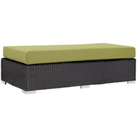 Convene Outdoor Patio Fabric Rectangle Ottoman Espresso Peridot