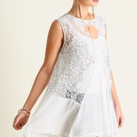 UMGEE USA sleeveless lace romantic tunic top summer S M L