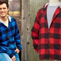 Men's Long Sleeve Thermal Trim Flannel Hoodie Coat Jacket Plaid Print M L XL 2XL