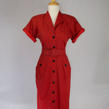 Vintage 1980's Wiggle Dress Bad Girl Red Shirtwaist SPRING SALE