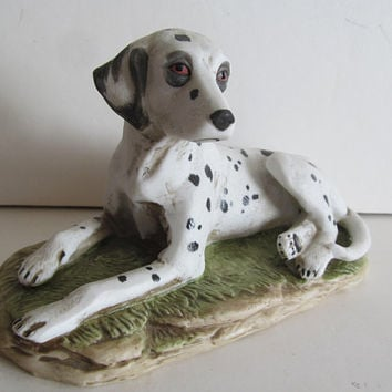 Dalmatian Dog Figurines Fireman Companion Dog Dalmatian Figurine Black and White Polka Dot Decor Germany Makers mark Arrows Numbered