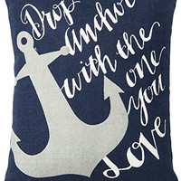 Drop Anchor With The One You Love - Decorative Nautical Coastal Throw Pillow 12-1/2-in x 10-in