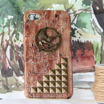 wood grain the hunger games mockingjay iphone 4/4 scase summer trending punk protective case phone case friendship love gifts