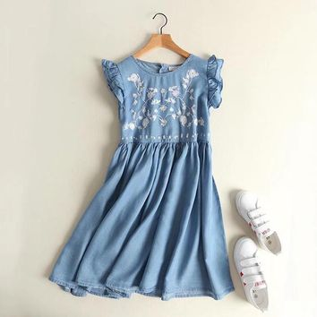 2017 women clothing sleeveless floral embroidery ruffles washed denim tank dress Female fashion cute loose jeans dresses S1377