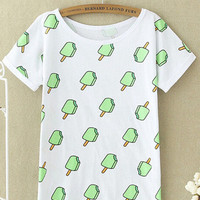 White Cartoon Print Casual T-shirt
