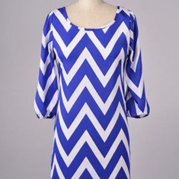 Blue and White Zig Zag Chevron Shift Dress