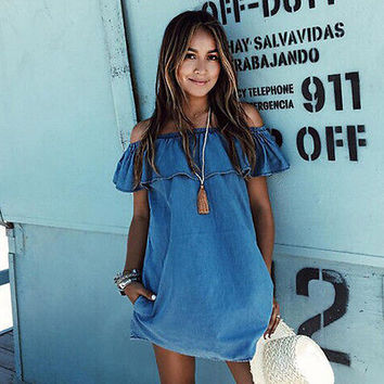 Cute Summer Lotus Leaf Ruffels Light Blue Off Shoulder Denim Casual Dress