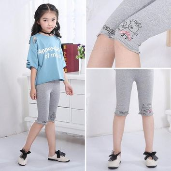 Summer Baby Girl Solid Cotton Stretch Skinny Leggings White/11