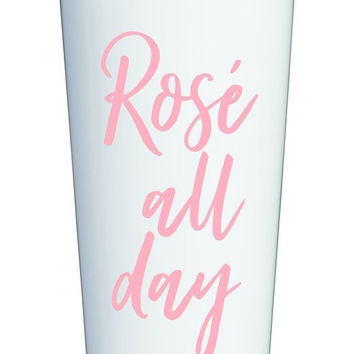 Rosé All Day Travel Mug in Pink and White