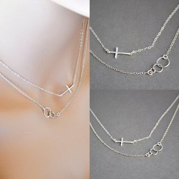 Sideways Cross Necklace, Layered Necklace, Triple Ring Necklace, Eternity Cross Necklace