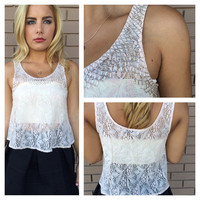 Blush Lace & Silver Bead Crop Tank