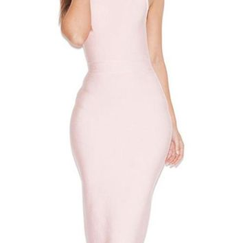 Blush High Neck Bandage Dress