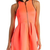 Neon Zip-Up Racer Front Skater Dress by Charlotte Russe - Neon Coral