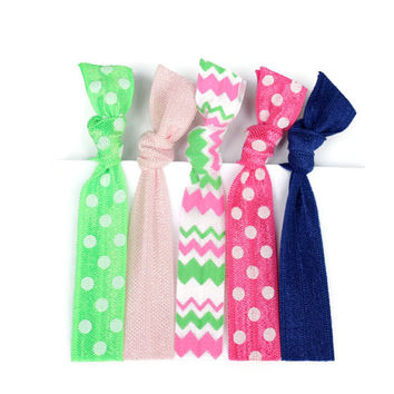 Preppy Hair Ties in Navy, Pink, Green - Polka Dot, Chevron Hair Elastics for Girls - Southern Prep Hair Accessories - Gift for Girls