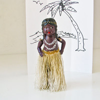 Hula Girl Wind Up Toy, Celluloid vintage, Hawaii, Kitsch Doll, 1930s