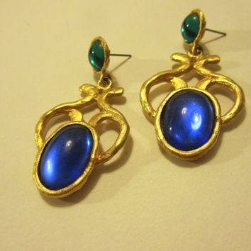 Vintage 90's Baroque Peacock-Hued Earrings, Opulent Versace Style