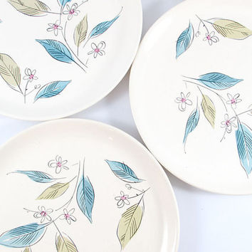 Vintage Floral Biscayne by Salem China Dinner Plates, Set of Four Floral Dinner Plates