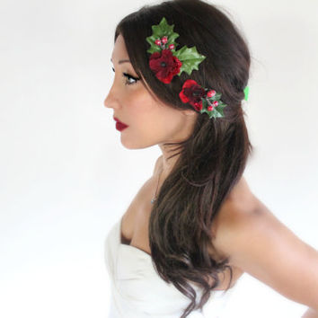 Holiday Hair Bobbies, Red Holly, Christmas, Winter Flower hair clips,, Wedding, child holiday hair accessory