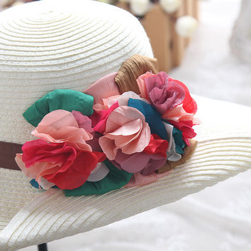 Summer Pastoral Style Floral Travel Beach Hats [10136605319]