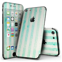 Teal and Green Grunge Vertical Stripes - 4-Piece Skin Kit for the iPhone 7 or 7 Plus