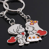 Bride and Groom Keychain Wedding Favors And Gifts Cupid Stone Mandrel Keyring Wedding Event Souvenirs Festive Party Supplies