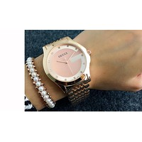 GUCCI classic men and women fashion watch F-Fushida-8899  Rose gold