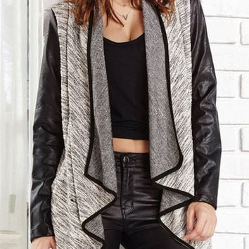 Gray and Black Asymmetrical PU Long Sleeve Cardigan
