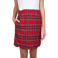Scallop Plaid Flannel Skirt in Red by Lauren James