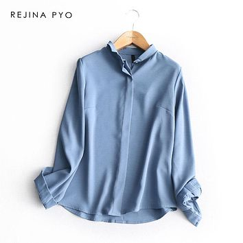REJINAPYO Women Elegant Chic Solid Turn-down Collar Single Breasted Shirt Office Lady Casual All-match Blouse Good Quality