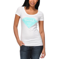 Diamond Supply Girls Certified Lifer White Scoop Neck Tee Shirt