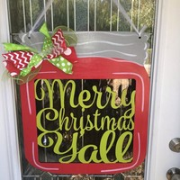 Merry Christmas y'all, Merry Christmas y'all door hanger, Christmas door hanger, mason jar door hanger, mason jar decor, Christmas decor