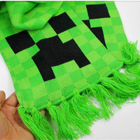 20pcs HOT Fashion AAA+ best quality Minecraft JJ Creeper Scarf minecraft scarves For Man And Women knitting lattice scarves D412