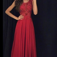 Sleeveless Chiffon Evening Dresses,Ruby Prom Dresses,Beading Sequins Long Dress