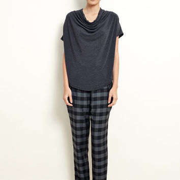 Cowl Neck Top - Jersey Top - Draped Should Sleeve - Draped Top