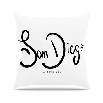 "Gabriela Fuente ""San Diego I Love You"" Travel Typography Outdoor Throw Pillow"